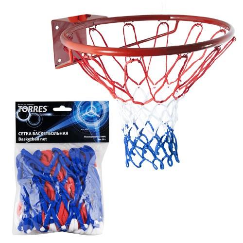 Сетка баскетбольная Torres цв.белый-красный-синий