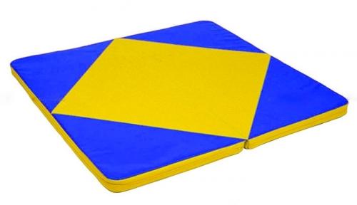 Мат гимнастический 1,15х1,15х0,08м складной цв.синий-желтый(к ДСК Мурзилка и Кубик)