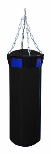 Мешок боксерский Русский бокс 02 на цепях L-120см d-30см 44кг цв.черный-синий